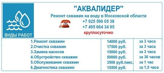 Цены на сервисные работы на скважинах
